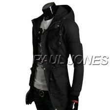Size M Mens BLACK Jacket Hooded Parka Winter Warm Trench Coat Overcoat Outwear