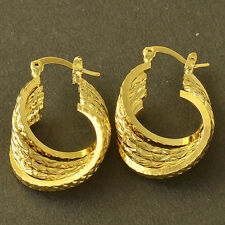 Fashion 14K gold filled Embossed Womens Vintage small Hoop Earrings clip on