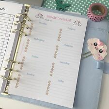 A5 Planner Insert Filofax Kikkik 'to Do' 12 Pieces Kawaii Stars Rainbows Weekly