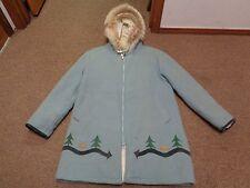 VTG HUDSON'S BAY HOODIE FUR JACKET COAT HUNTING XL WOMEN WESTERN WOOL 50S 60S