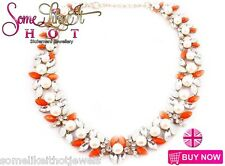 Zara Statement Necklace Rare Bib Collar Orange Pearl Blue Choker New UK