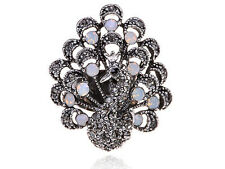 Elegant Silver Tone Special  Gift Jet Black Czech Peacock Opal Adjustable Ring