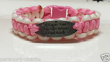 I Love You to the Moon and Back: Paracord Bracelet; Rose Pink with White Rims