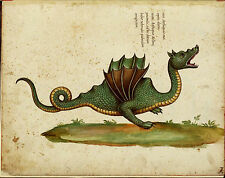 Vintage Medieval Framed Print – Asian Dragon Monster (Picture Poster Animal Art)