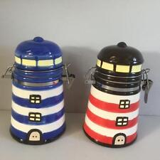 New PAIR OF NAUTICAL LIGHTHOUSE CANISTERS for Tea Coffee Kitchen Seaside Home