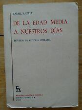 De la edad media a nuestros dias Literary history In Spanish Madrid 1967