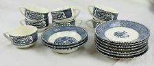 Lot of 7 Blue & White Currier And Ives Tea Coffee Cups And Saucers & 3 Bowls