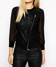 £135 Karen Millen coated knit cardigan biker jacket zip sheer animal leather 2 8
