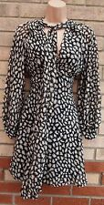 PRIMARK WHITE BROWN BLACK ABSTRACT TIE NECK HALF BUTTONED SKATER TEA DRESS 12 M