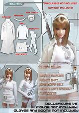 CC98C 1/6 Female White Long Overcoat Clothing Full Set for HOT TOYS,PHICEN