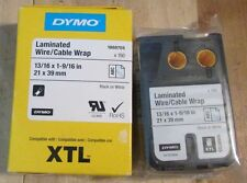 "DYMO XTL Permanent Adhesive Vinyl Tape 13/16"" x 1-9/16"" Black On White"