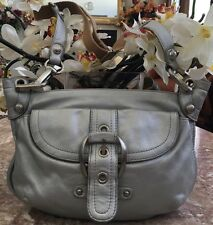 B. Makowsky Gray Leather Hobo Large Buckle Crossbody Shoulder Handbag Purse EUC