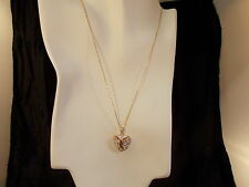 Mom Jordan, Beautiful Sterling Silver w/Gold Overlay,Crystal Heart Pendant.