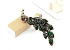R1213 New Fashion Charming Vintage Cocktail Bronze Peacock Feather Ring HOT