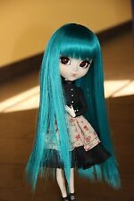 wig perruque taille 9/10 bleu canard lisse formydoll c. neuve  pullip bjd 1/3