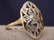 ANTIQUE ART DECO 18K GOLD & PLATINUM , SAPPHIRES , DIAMONDS RING nr