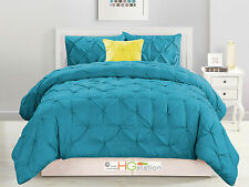 4-Pc Diamond Ruched Pinched Pleated Ruffled Comforter Set Turquoise Blue Queen