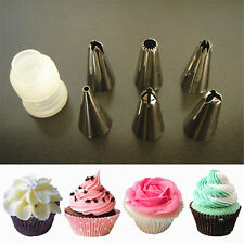 6 Icing Piping Ice Cream Cupcake Fondant Cake Decorating Tools Nozzles & Coupler
