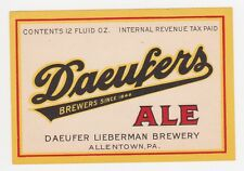 Daeufers Ale 12 oz IRTP Beer Label