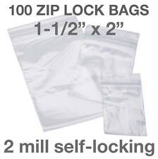 "100 PIECE 1-1/2"" X 2"" 2MIL ZIP LOCK POLY RECLOSABLE PLASTIC BAGS CLEAR 1.5"" x 2"""