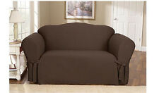 Sure Fit Cotton Duck One Piece Sofa Slipcover Warm Chocolate/ Brown
