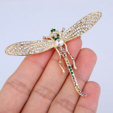 AIMO Dragonfly Animal Insect Brooch Pin Multi Austrian Crystal Gold GP Women