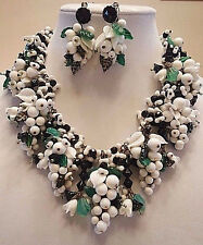 Vtg Signed Miriam Haskell Dangle Glass Grape Leaf Flower Necklace & Earring Set
