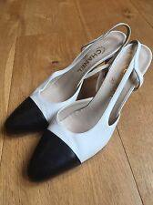 Iconic White & Black Sling Back Leather Heels By CHANEL