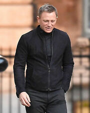James Bond Spectre 100% Genuine Lamb Black Suede Leather Jacket with Two Way Zip