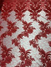 "Lace Fabric Red Angel Wings Floral 3D Look Dress 50"" Wide Sold By The Yard"