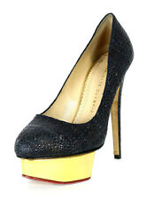 CHARLOTTE OLYMPIA $895 Midnight Blue Raffia DOLLY Gold Platform Pumps 37
