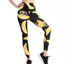 Woman Black legging Banana & owl printed Slim legging elastic legging