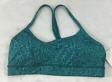 Lululemon Women Sports Flow Y Bra IV Light Support Teal Typography Print Size 6