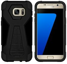 AMZER Black Dual Layer Hybrid Kickstand Case Cover For Samsung GALAXY S7 SM-G930