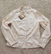 Horny Toad Womens Light Yellow Firefly Embroidered Blouse Small S nwt cotton