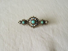 Small Silver Enamel Brooch with Turquoise Stones & Seed Pearls Norway? Russian?