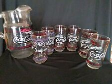 Coca Cola Vintage Walgreens Pitcher and 6 Glasses-Glass-Gently used