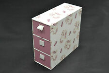 BRAND NEW SAINSBURYS TU 3 NARROW DRAWER PINK & WHITE FLORAL STORAGE BOXES