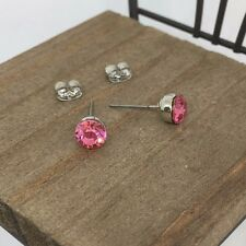 High Quality Pink Crystal Titanium Post Stud Earrings US Seller Made in Korea