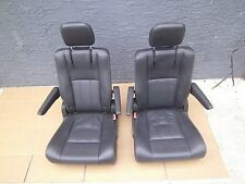 spring sale 2 BUCKET SEATS BLACK LEATHER WHITE STITCHED Jeep Hotrod Bus Van Boat