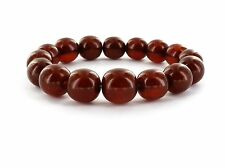Bracelet Baltic Amber Round Beads Art Deco Dark Red Opaque Mila Beads 11-14mm