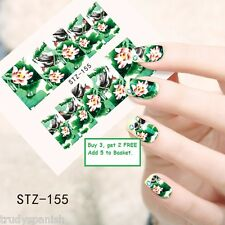 Nail Art Water Decals Wraps Green Oriental Japanese Flowers Floral Gel Polish