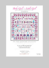 CROSS STITCH KIT *PERSONALISED SAMPLER* BABY LITTLE GIRL