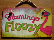 FLAMINGO FLOOZY Beach Hat Tropical Pink Flamingos Home Decor Sign NEW