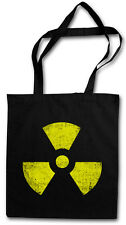 BLACK RADIOACTIVE VINTAGE SYMBOL Hipster Shopping Cotton Bag - Goth TBBT Cyber