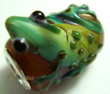 1PCS Silver Lampwork Glass Frog Animals Beads fit European Charm Bracelet ZXY-13