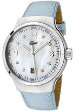 BRAND NEW LACOSTE 2000377 TIE BREAK BLUE LEATHER MOP DIAL GLITZ WOMEN'S WATCH