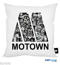 "MOTOWN ARTISTS BLACK AND WHITE DESIGN CUSHION IDEAL GIFT HOME DECOR 18"" X 18"""