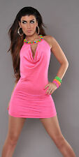 NEW SEXY COCKTAIL PARTY EVENING DRESS SHINY JEWELLED NECKLACE 6 8 10 ~ HOT PINK