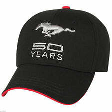 BLACK SILVER AND RED FORD MUSTANG 50TH ANNIVERSARY 50 YEARS EMBROIDERED HAT/CAP!